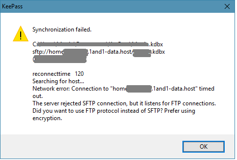 KeePass / Discussion / Open Discussion:Failure to sync over sftp